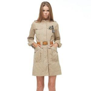 Khaki Belted Military Jacket Trench Coat